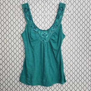 Anthropologie C Keer Green Tank Cami Top.